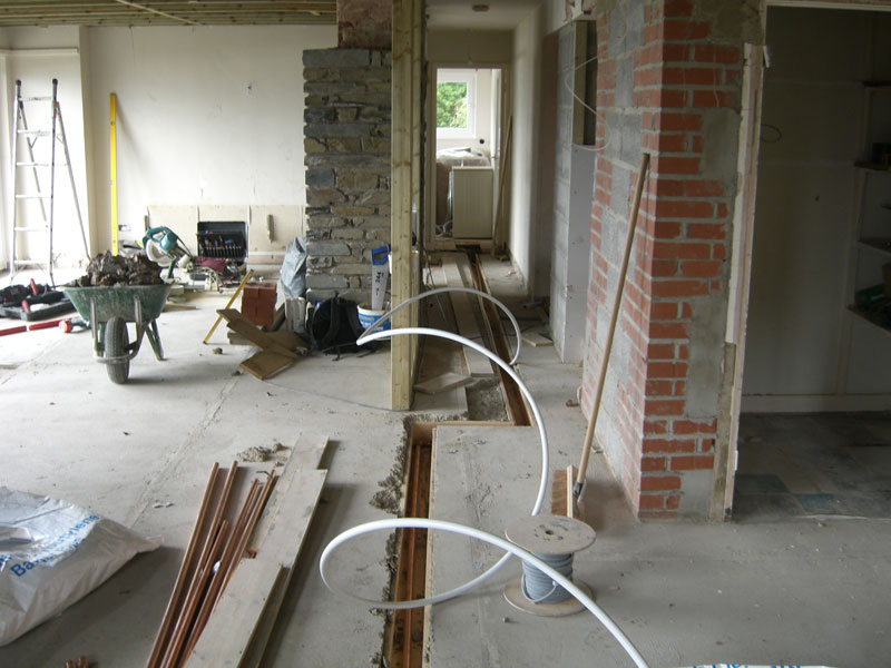 Plumbing and other house services being put in place by Dyfi Renovations Ltd