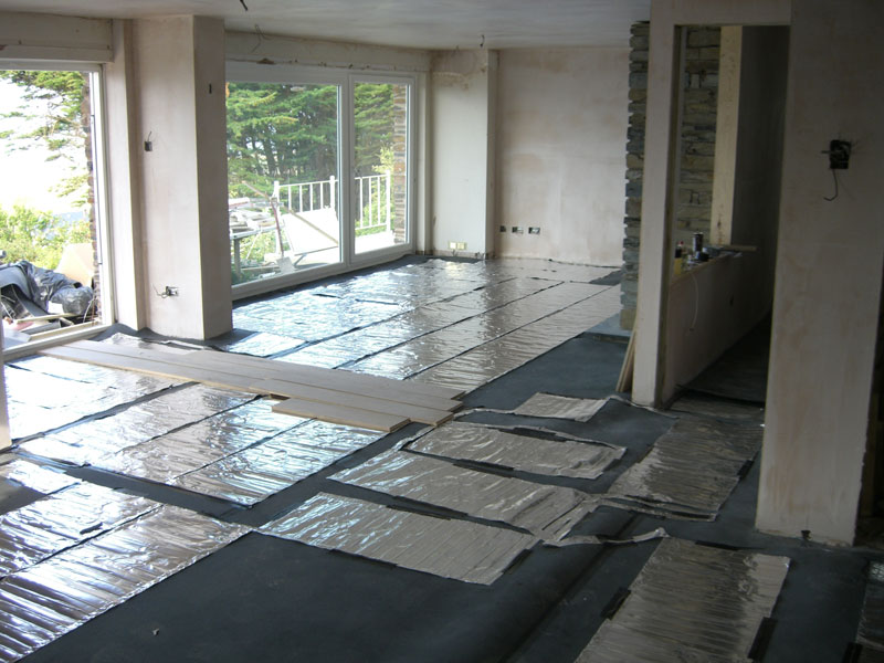 Heated floor being installed